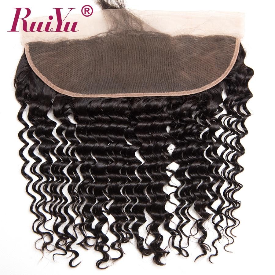 RUIYU Părul brazilian de adâncime din bumbac de închidere 13x4 la - Păr uman (pentru negru)