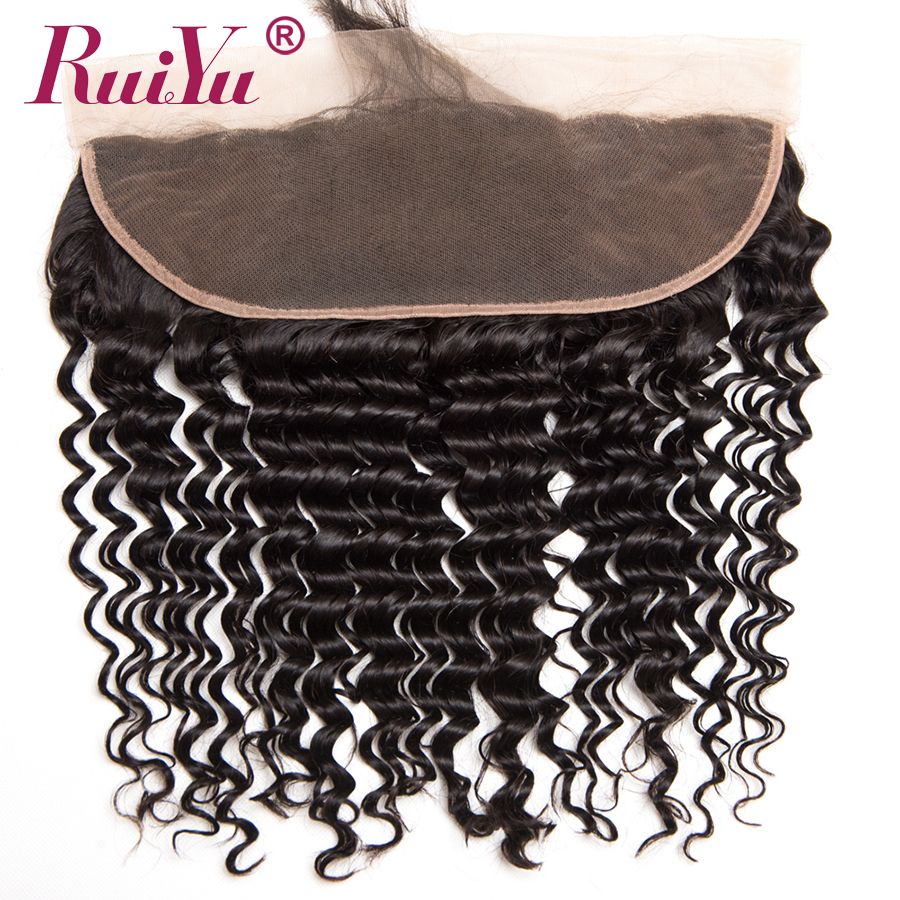 RUIYU बाल ब्राजील गहरी बुनाई बंद 13x4 कान के साथ फीता फीता ललाट बंद करने के लिए बच्चे के बाल गैर रेमी मानव बाल 130% घनत्व