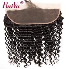 RUIYU Hair Brazilian Deep Weave Closure 13×4 Ear To Ear Lace Frontal Closure With Baby Hair Non-remy Human Hair 130% Density