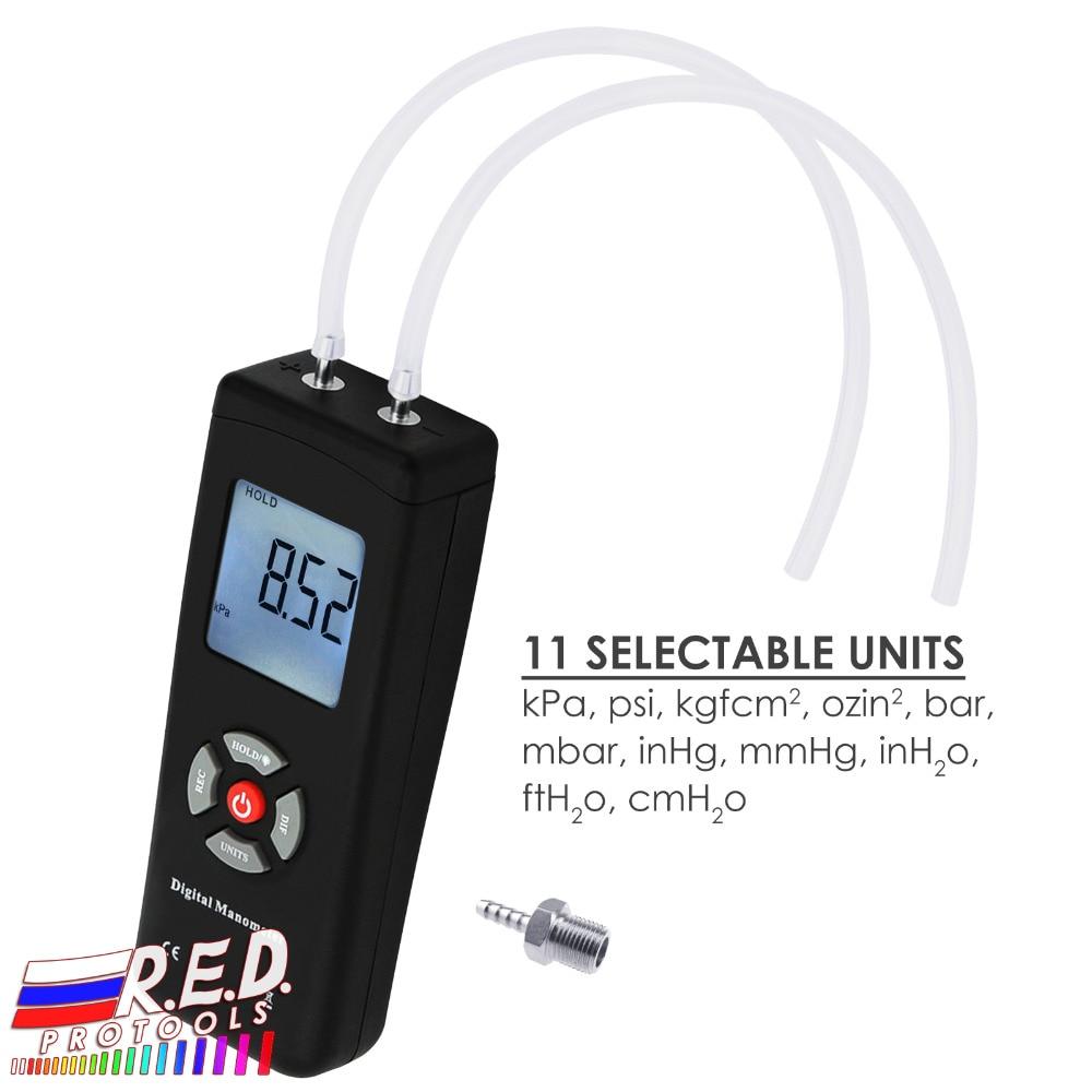Professional Digital Manometer Portable Handheld Air Vacuum/Gas Pressure Gauge Meter 11 Units With Backlight +/-13.78kPa +/-2PSI
