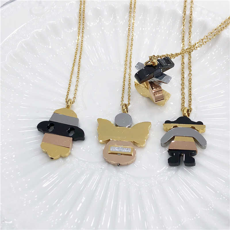 Stainless Steel Angel wings Bear Girl Hamsa Fatima Hand Necklace Pendant Gold Chain Women Necklaces Earings Fashion Jewelry Gift