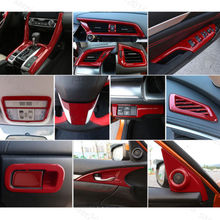 23x Red Fit For Honda Civic 16-2017 4dr  Interior Gear Shift Full Dec Cover Trim