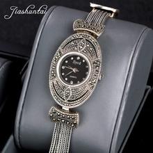 9faa5aaf7d5b JIASHUNTAI Retro 100% plata esterlina 925 para las mujeres ronda Vintage  plata tailandés reloj pulseras mujer joyería