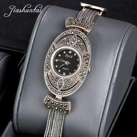 JIASHUNTAI Retro 100% 925 Sterling Silver Watch For Women Round Vintage Thai Silver Clock Female Bracelets Watch Jewelry