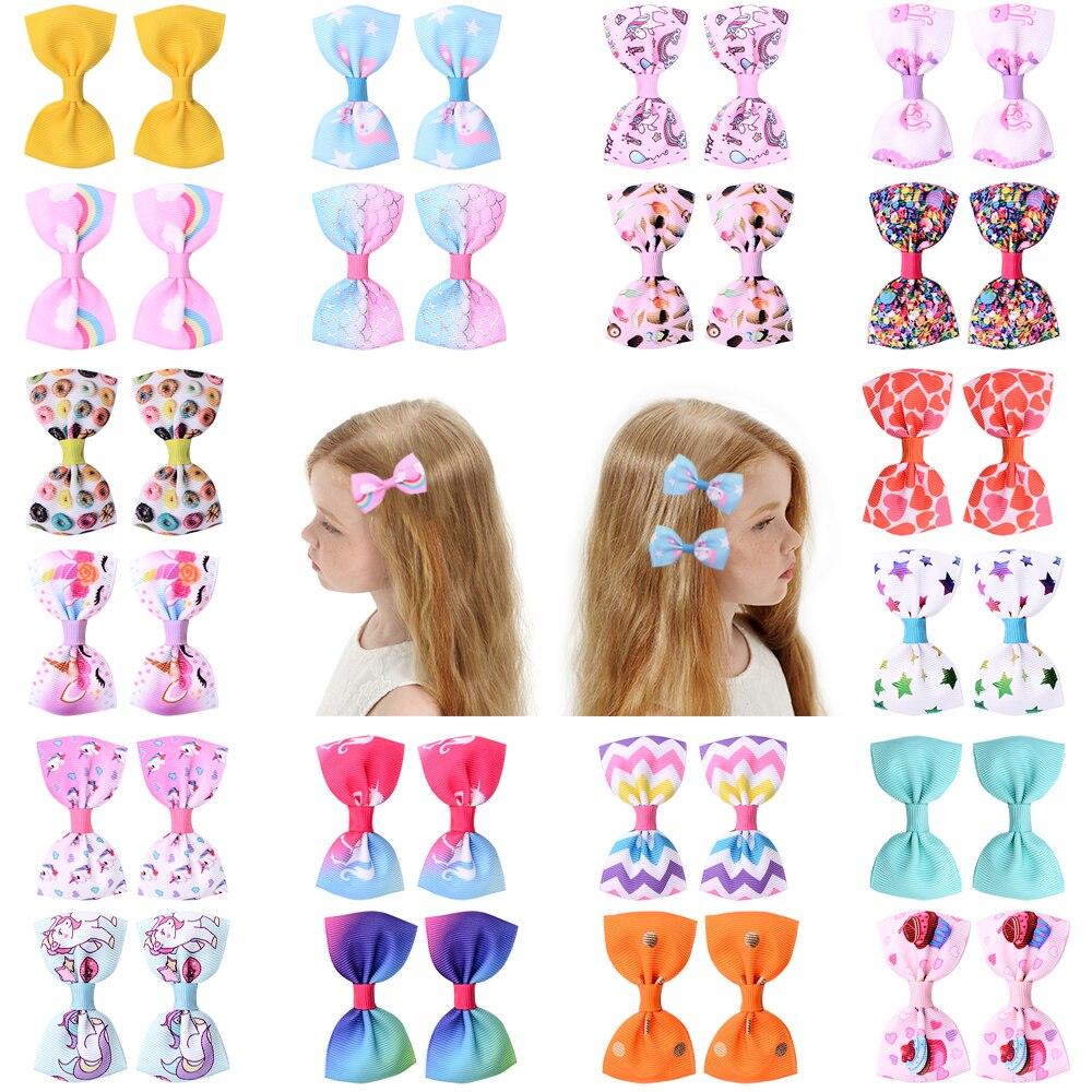 20 цветов, 1 шт., детские ручки для волос с маленьким бантиком и единорогом, мини-разноцветные ободки с бантиком, безопасные детские заколки, а...