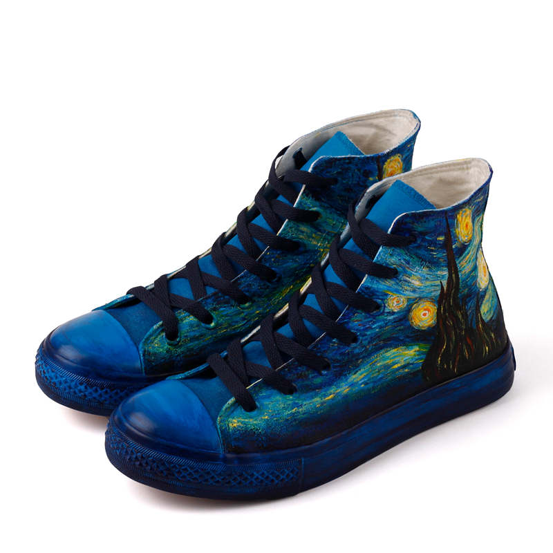 E-LOV High End Design Starry Night Hand Painted Canvas Shoes High Top Custom Graffiti Casual Shoes Men Espadrille Zapatos e lov women casual walking shoes graffiti aries horoscope canvas shoe low top flat oxford shoes for couples lovers