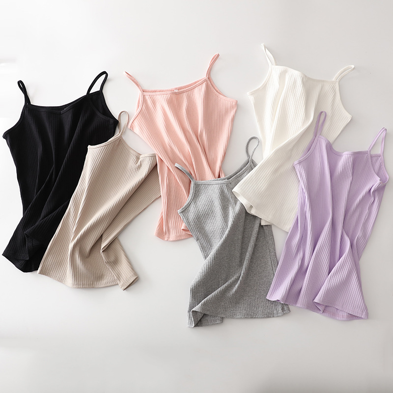 2019 Vests New Women Cotton Camis   Tops   Tees Slim Solid Color Summer Style Casual   Tank     Tops   Striped V Neck Simple Camisole
