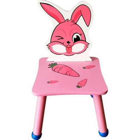 Children Chairs Romantic European And American Era Solid Wood Baby Cartoon Bench Rabbit Ears Cute Childrens Dining Chair Learning Chair Stool