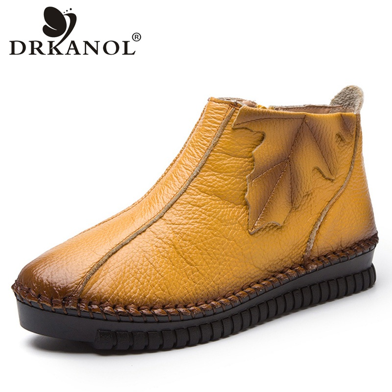 DRKANOL Plus Size 35-43 Autumn Winter Women Boots Soft Genuine Leather Flat Ankle Boots Women Warm Casual Shoes Zip Short Boots plus size 34 43 new fashion autumn winter boots women classic zip ankle boots warm plush leather casual martin boots women shoes