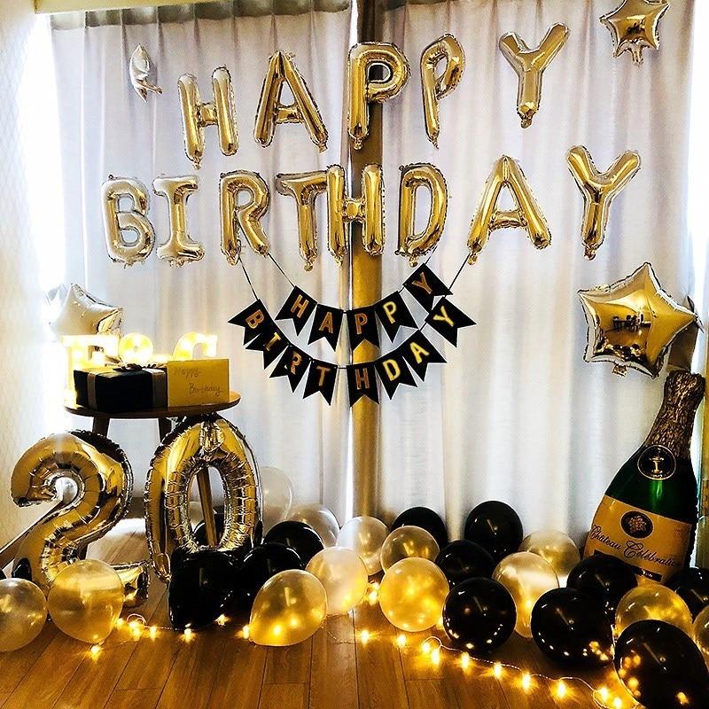happy birthday foil balloons kits blue