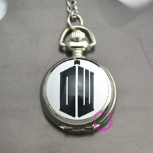 wholesale hot fashion cartoon black DW Doctor Who Pocket font b Watch b font silver Necklace