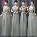 Grey Bridesmaid Dresses 2016 New Bridesmaid Gown Formal Chiffon Party Pleated Bridesmaid dress Formal Gown With Bow Lace Up Sexy