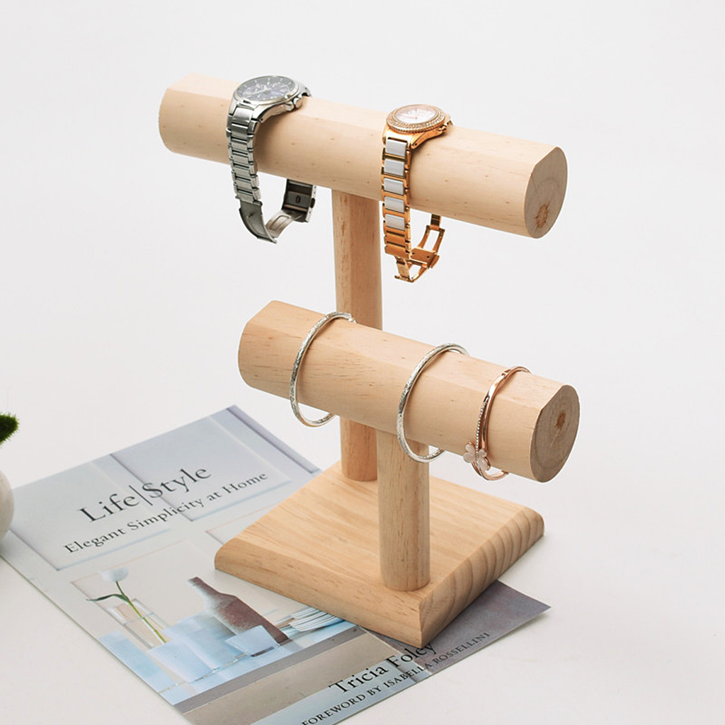 T- Bar Wooden Jewelry Holder Stand For Various Jewelry Watch Bangle Bracelet