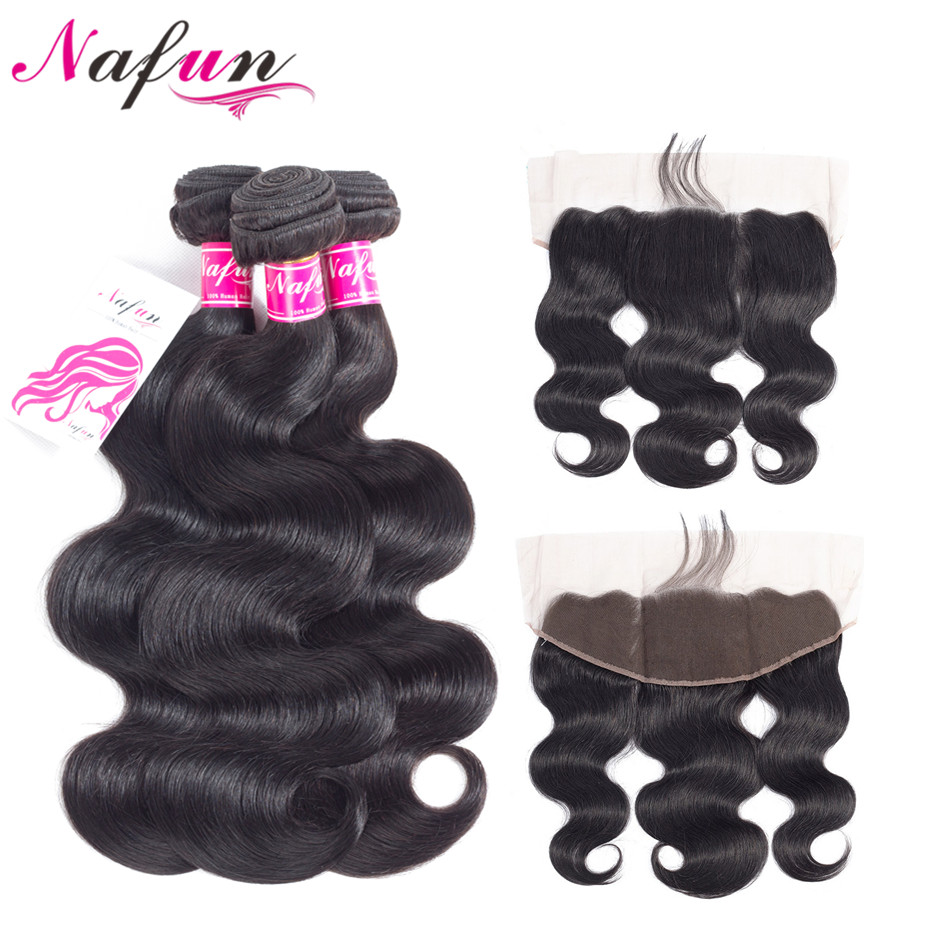 NAFUN Hair Body Wave 3 Bundles With Frontal Closure Non Remy Natural Color Hair Brazilian Human