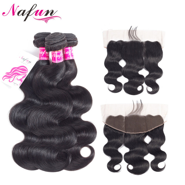 NAFUN Hair Body Wave 3 Bundles With Frontal Closure Non-Remy Natural Color Hair Brazilian Human Hair Bundles With Lace Closure
