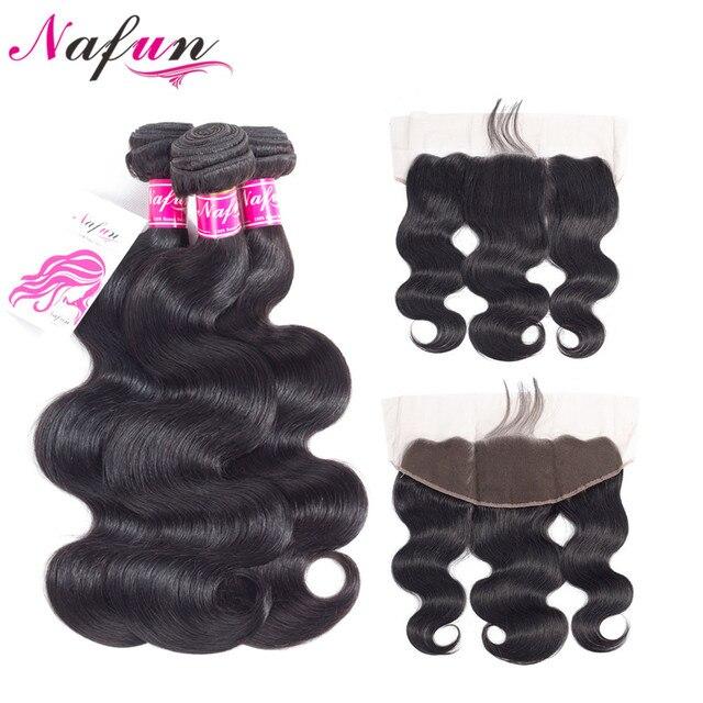 Pelo NAFUN onda del cuerpo 3 paquetes con cierre Frontal pelo Natural no Remy paquetes de cabello humano brasileño con cierre de encaje
