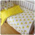 Libre shipp 3 Unids 100% Algodón Cuna ropa de Cama de Dibujos Animados Kit baby bedding set incluye hoja de cama funda de almohada funda nórdica sin relleno
