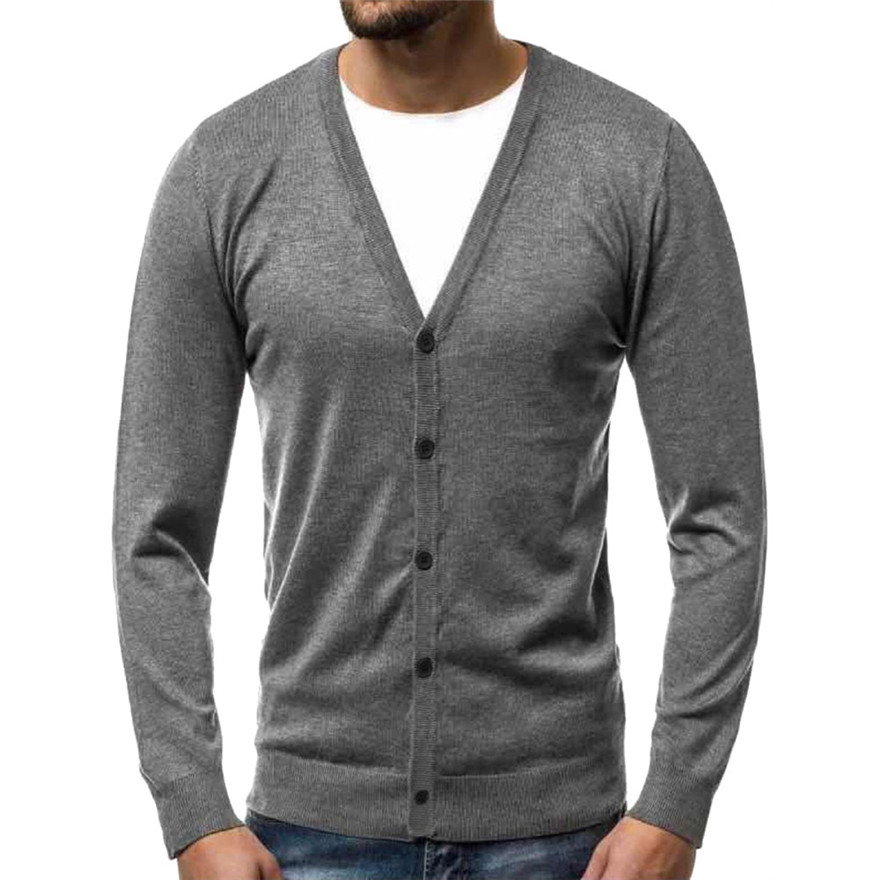 Solid comfy Knitted Sweater Men's Autumn Warm Button  Pullover  Blouse Tops