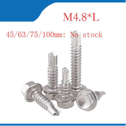 M4.8 Roofing Screws Tapping Screw Self Drilling Sheet Metal Hex Washer Head Screws Stainless Steel 410 цена