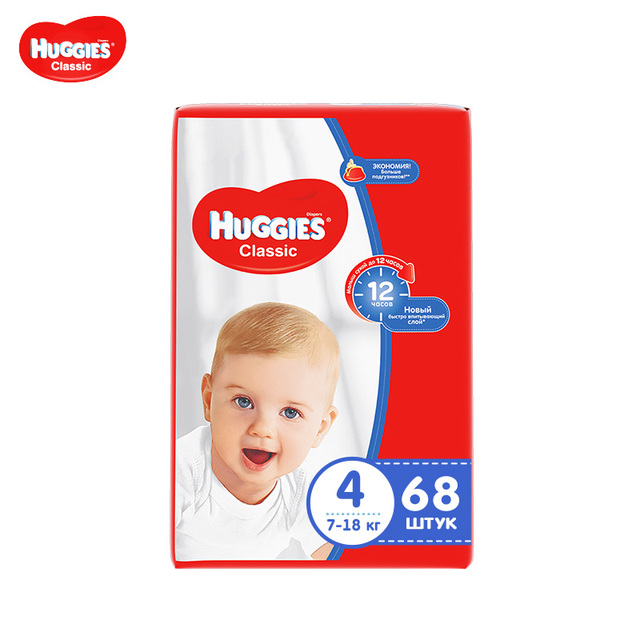 Подгузники Huggies Classic 7-18 кг (размер 4) 68 шт