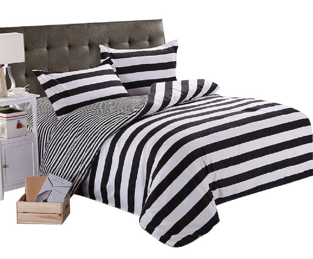 US $31.5 10% OFF WINLIFE Schwarz Weiß Bettwäsche Gestreifte Bettwäsche Set  Bettbezug mit 2 Kissen Shams Sterne Bettwäsche Set Schwarz und Weiß Plaid  ...
