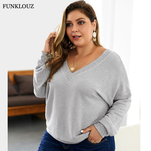 FUNKLOUZ Korean Style Oversize Autumn Sweater Pullover V Neck Loose Knitted Womens Clothing 2019