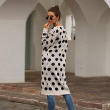 Women Casual Fashion Kimono Cardigan Long Print Polka Dot Knitted Fabric Shirt Loose Black Blouse