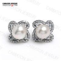 8mm Freshwater Pearl Genuine 925 Sterling Silver Jewellery Full CZ Brilliant Shine Quatrefoil Flower Stud Earrings