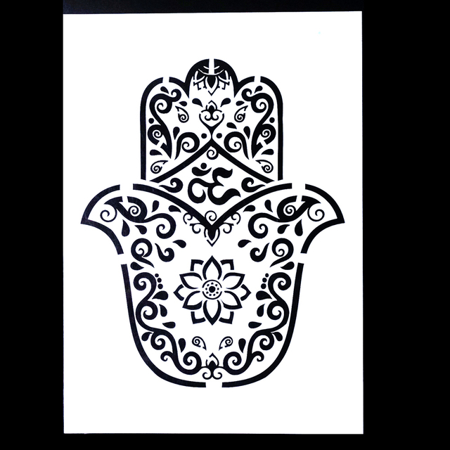 A4 Hamsa Palm Mandala Stencil for DIY Crafts and Decoration