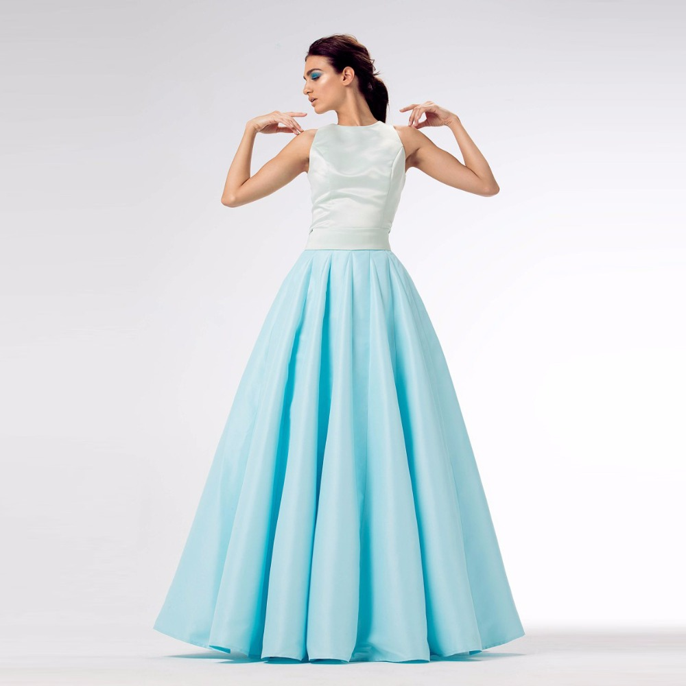 High End Sky Blue Long Skirts For Women To Prom With Tulle Puffy Custom Made Satin Skirt Zipper High Quality Pleat Maxi Skirt sky blue stripe pattern skirts