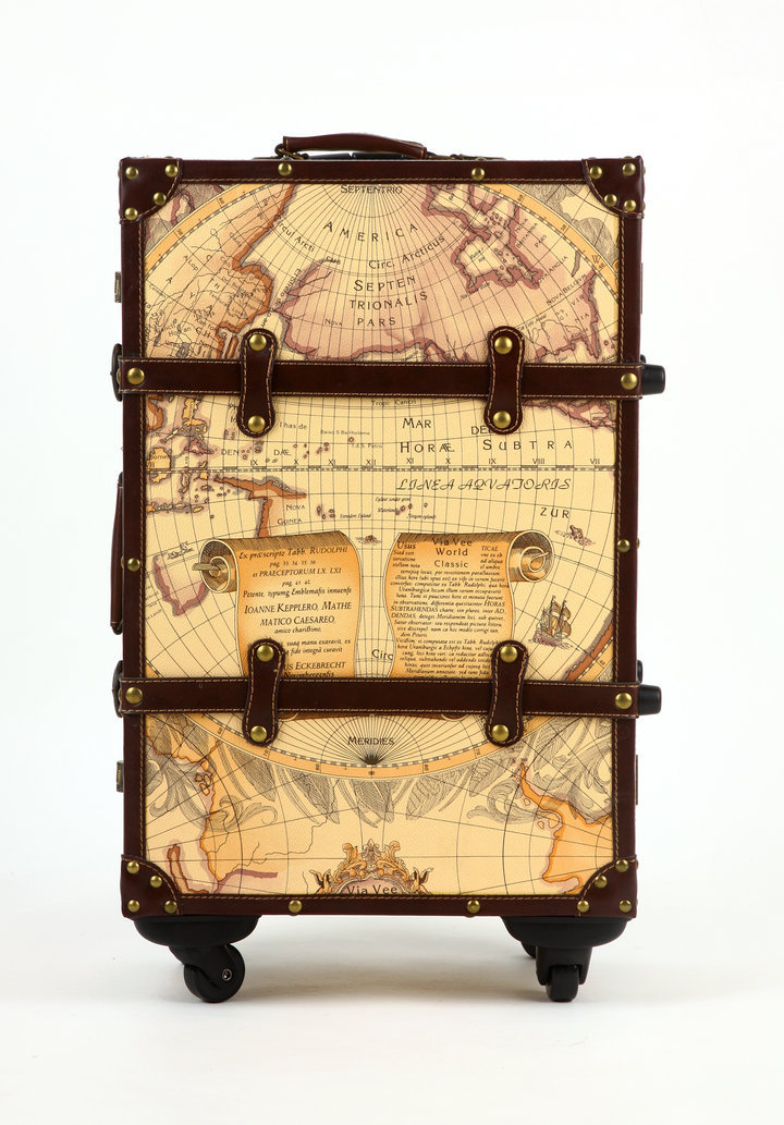 PU+Wood Geographic Map Rolling Luggage Spinner  Boarding Box Suitcase Trunk Card Luggage SetPU+Wood Geographic Map Rolling Luggage Spinner  Boarding Box Suitcase Trunk Card Luggage Set