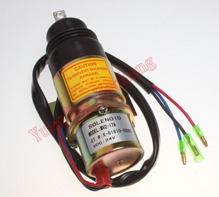 New Solenoid Z1819100520 MV2-17A 24V for 4JG1 4JG2 6BG1 6BB1