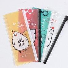 Cute Cartoon Chicken Pencil Bag Kawaii Transparent Pencil Case File Holder For Kids School Supplies Free Shipping 1177