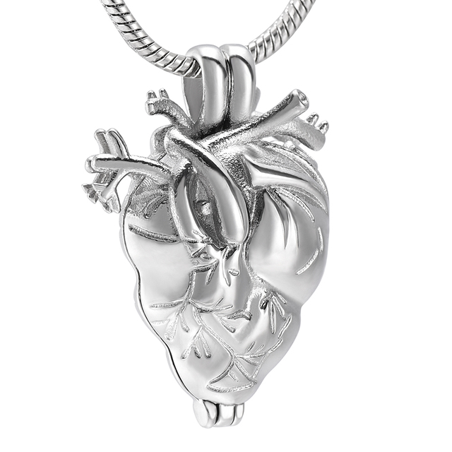 Anatomical Heart Urn Cremation Jewelry In Pendant Necklace For