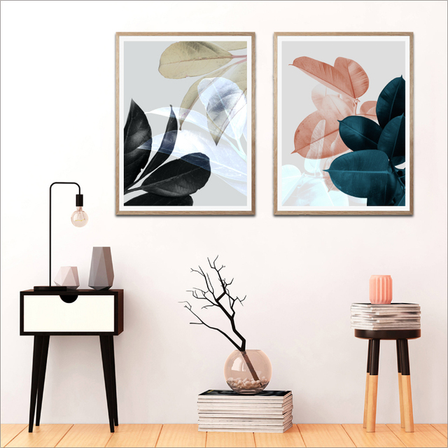 Modern Botanical Poster Black Blue Pink Grey Tropical Leaves Canvas Art Prints Wall Picture Living Room