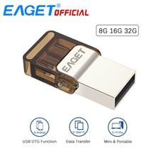 EAGET Micro USB OTG USB Flash Drives Pen Drive 32G Pendrive 16 GB 8 GB Memory Stick de Almacenamiento Externo para Xiaomi Teléfono Portátil PC