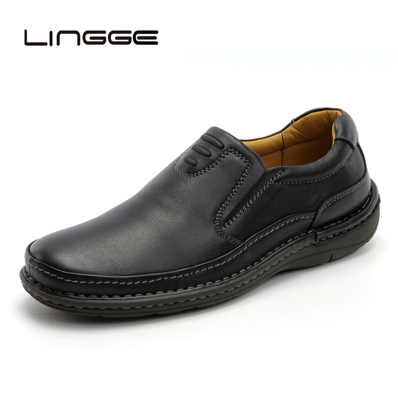 LINGGE 2019 Genuine Leather Men Casual Shoes 100% Real Leather Slip-On Men Loafers New Brand Fashion Mens Moccasins