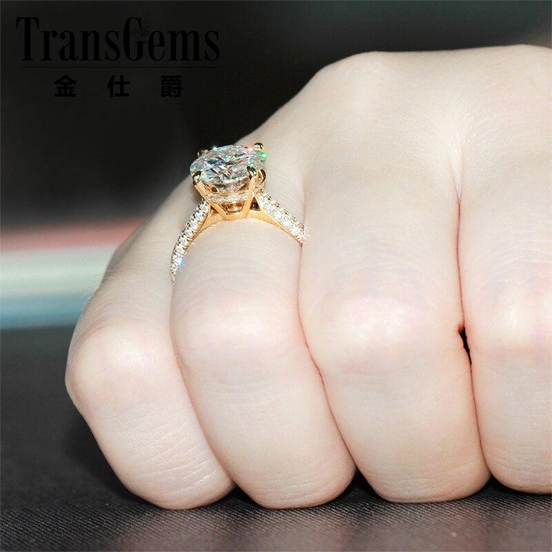 Image 4 - Moissanite Engagemenet Ring 14k 585 Yellow Gold 4 Carat Diameter 10mm FG Color Moissanite Wedding Ring with Accents For Womenengagement rings womenengagement rings bandengagement rings wedding ring -