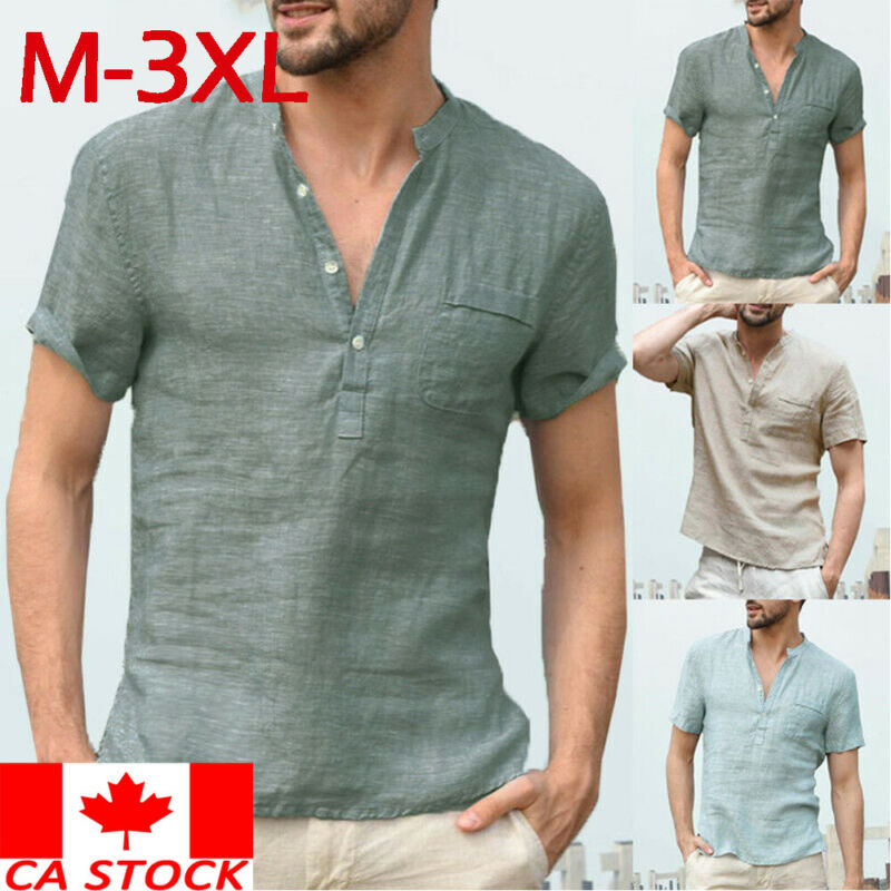 Men's Linens Short Sleeve Shirt Summer Cool Loose Casual Shirts V-Neck Tops Casula Style Plus Size