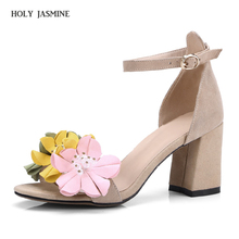 2018 summer New Fashion Women Genuine Leather Shoes Bohemia Flowers Ankle Strap Sandals Summer Wome's Wedding Party Shoes Woman недорого