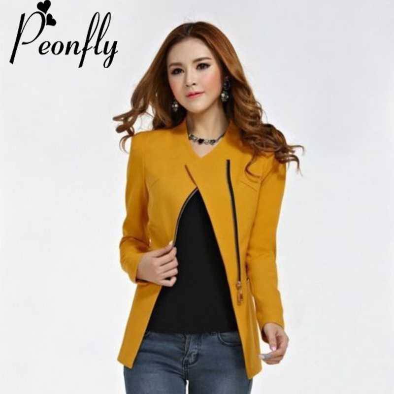 PEONFLY Fashion Candy Color Jacket Suit Long Sleeve Women Zipper Suit Slim Casual Jacket Coat Outwear black red yellow S XXL XL laundry by shelli segal new red long sleeve zipper jacket 2 $149 dbfl