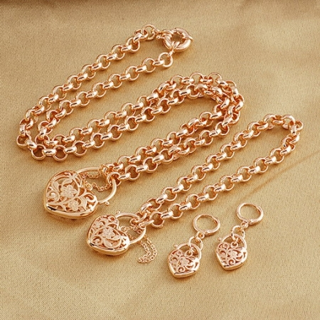 Filigree 18k Rose Gold Filled GF Heart Locket Belcher Necklace