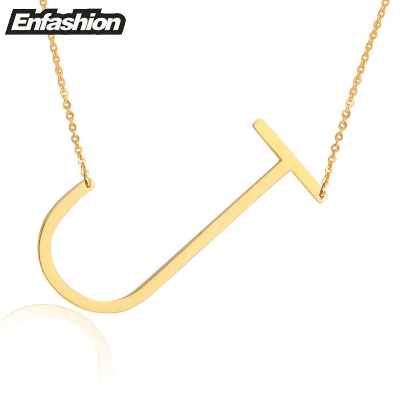 Kalung Reka bentuk EnFashion Alphabet Kalung Loket Awal Warna Emas - Perhiasan fesyen - Foto 5