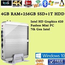 Седьмого Поколения Intel Core i5 7200U 4 ГБ RAM 256 ГБ SSD 1 Т HDD Win10 Мини PC Макс 3.1 ГГц usb HTPC Intel HD Graphics 620 4 К TV Box usb 3.0
