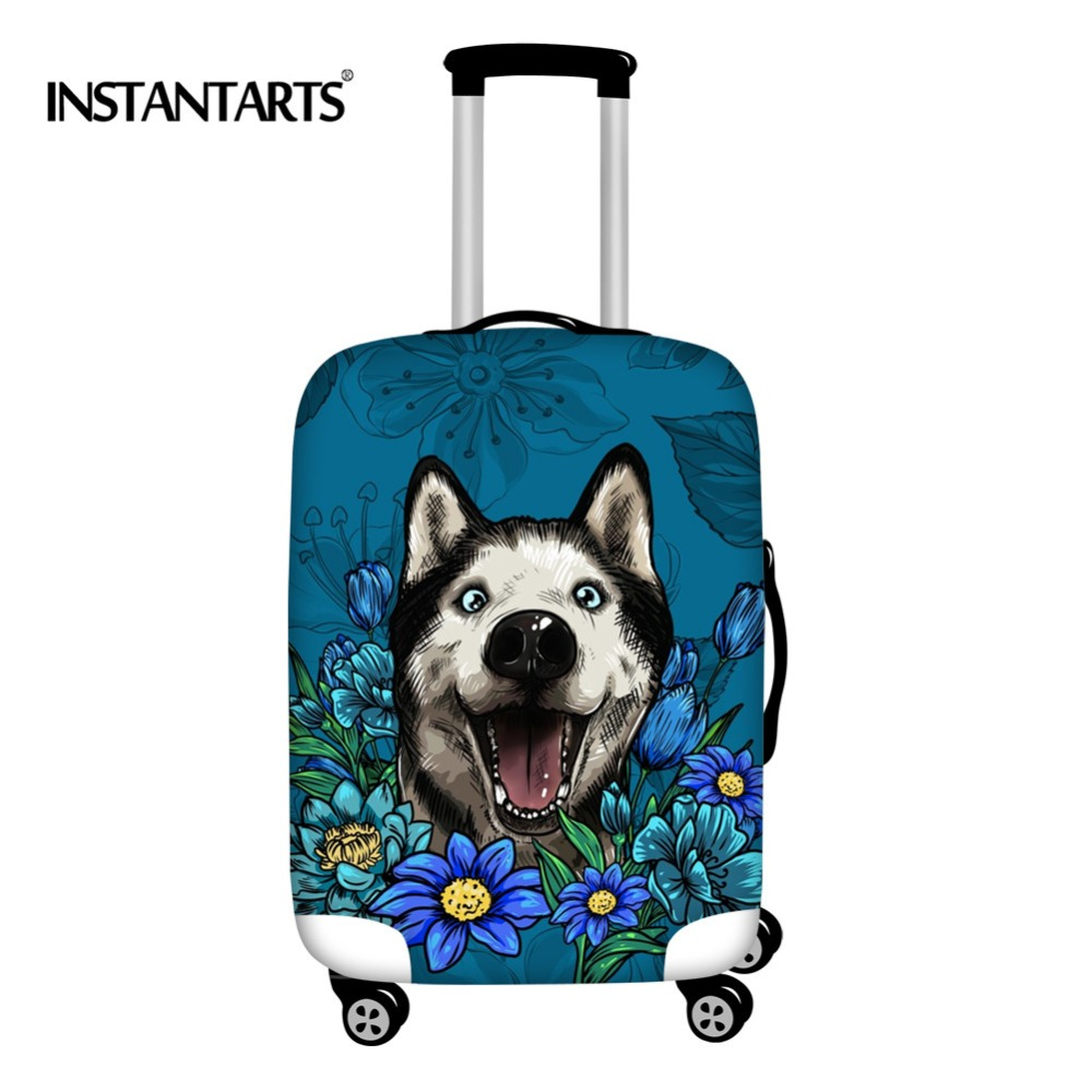 INSTANTARTS Floral Siberian Husky Suitcase Protective Covers Elastic Thick Dust Rain Travel Luggage Cover For 18-30 Inch Case
