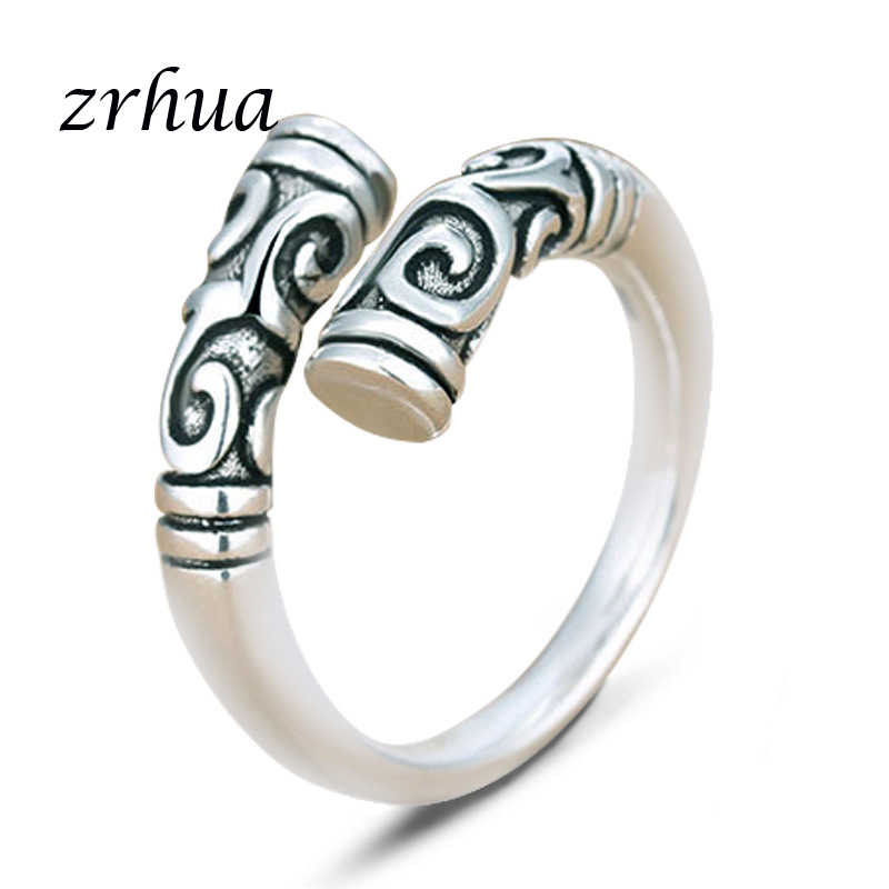 ZRHUA Top Quality 925 Sterling Silver Vintage Wedding Engagement Rings Bijouterie for Man or Woman Gift Personalized Jewelry