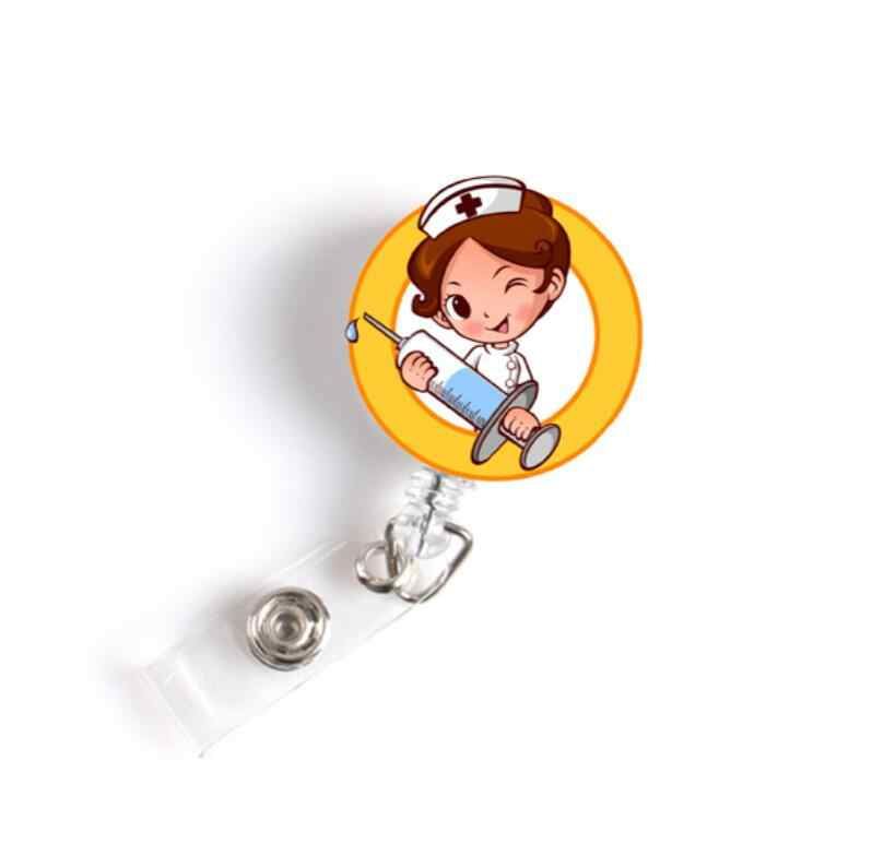 Cute Cartoon Retractable Badge Reel High quality silicone Student Nurse Exihibiton ID Name Card Badge Holder Office Supplies