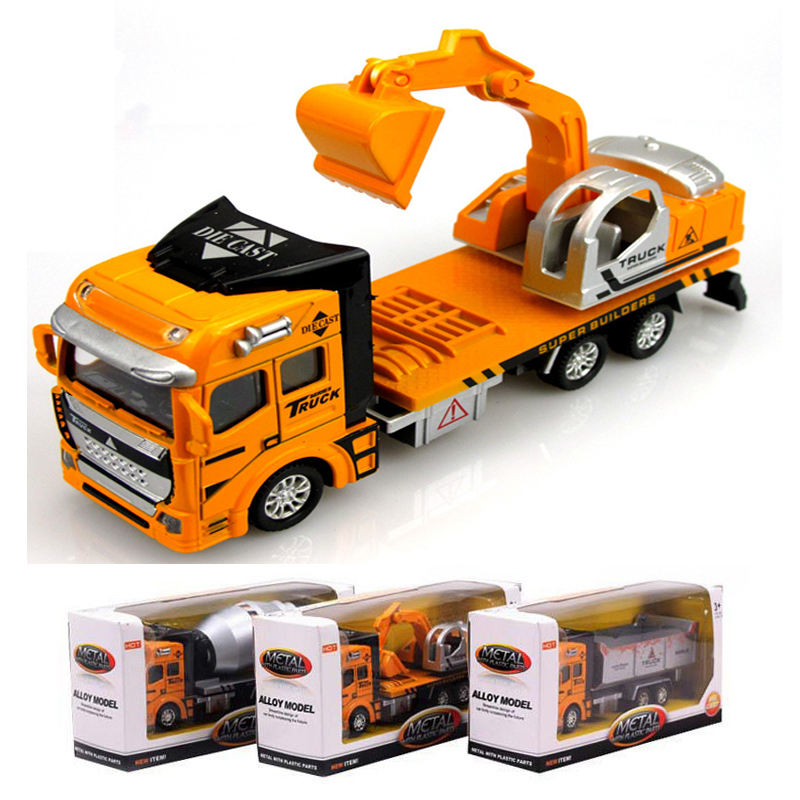 Pull Back Alloy Engineering car vehicles mixer truck excavator ...