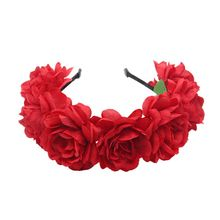 Bohemian Women Wedding Bridal Headband Artificial Colored Blooming Flower Hair Hoop Beach Vacation Headdress Garland Wreath