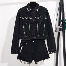 YingYuanFang Fashion spring new Korean short paragraph rivet black denim jacket